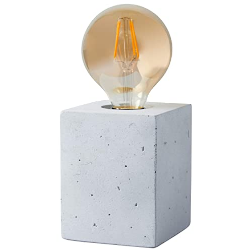 Rivet Modern Industrial Cement Cube Base Table Lamp with Amber Edison Light Bulb – 4.5 x 4.5 x 3.5 Inches, Cement