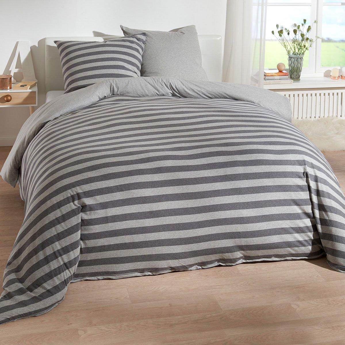 Traumschlaf Jersey Melange Wendebettwäsche Stripe grau 200x200 cm + 2X 80x80 cm