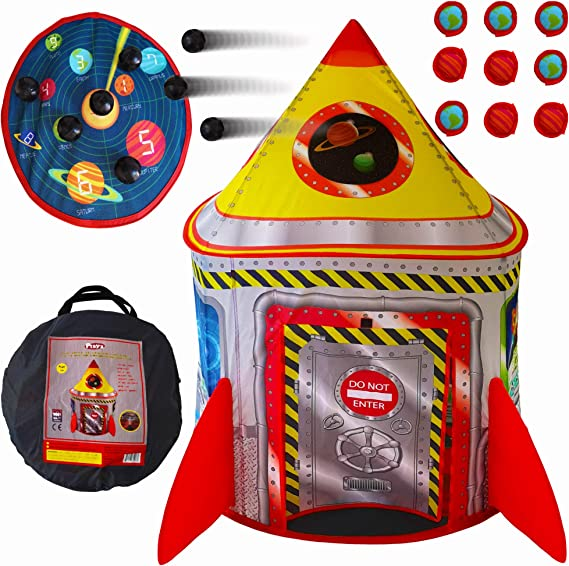 Playz 5-in-1 Rocket Ship Play Tent for Kids with Dart Board