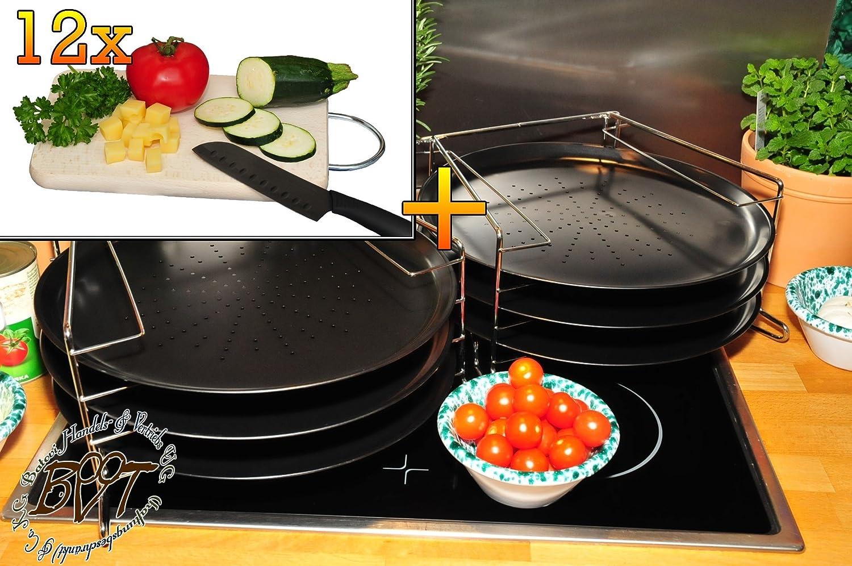 6 Stk. rundes Pizzablech mit gelochtem Boden + 2x 4 stufiger Edelstahl-Pizzablechhalter, TRADITIONELL, ca. 33 cm x 1 mm & 12 mal hochwertiges ca. 16 mm starkes Picknick Grill-Holzbrett mit Edelstahlhenkel natur, mit abgerundeten Kanten, Maße viereckig ca. 27 cm x 15 cm als Bruschetta-Servierbrett, NEU Massive Schneidebretter, Frühstücksbretter, Brotzeitbretter, Steakteller schinkenbrett rustikal
