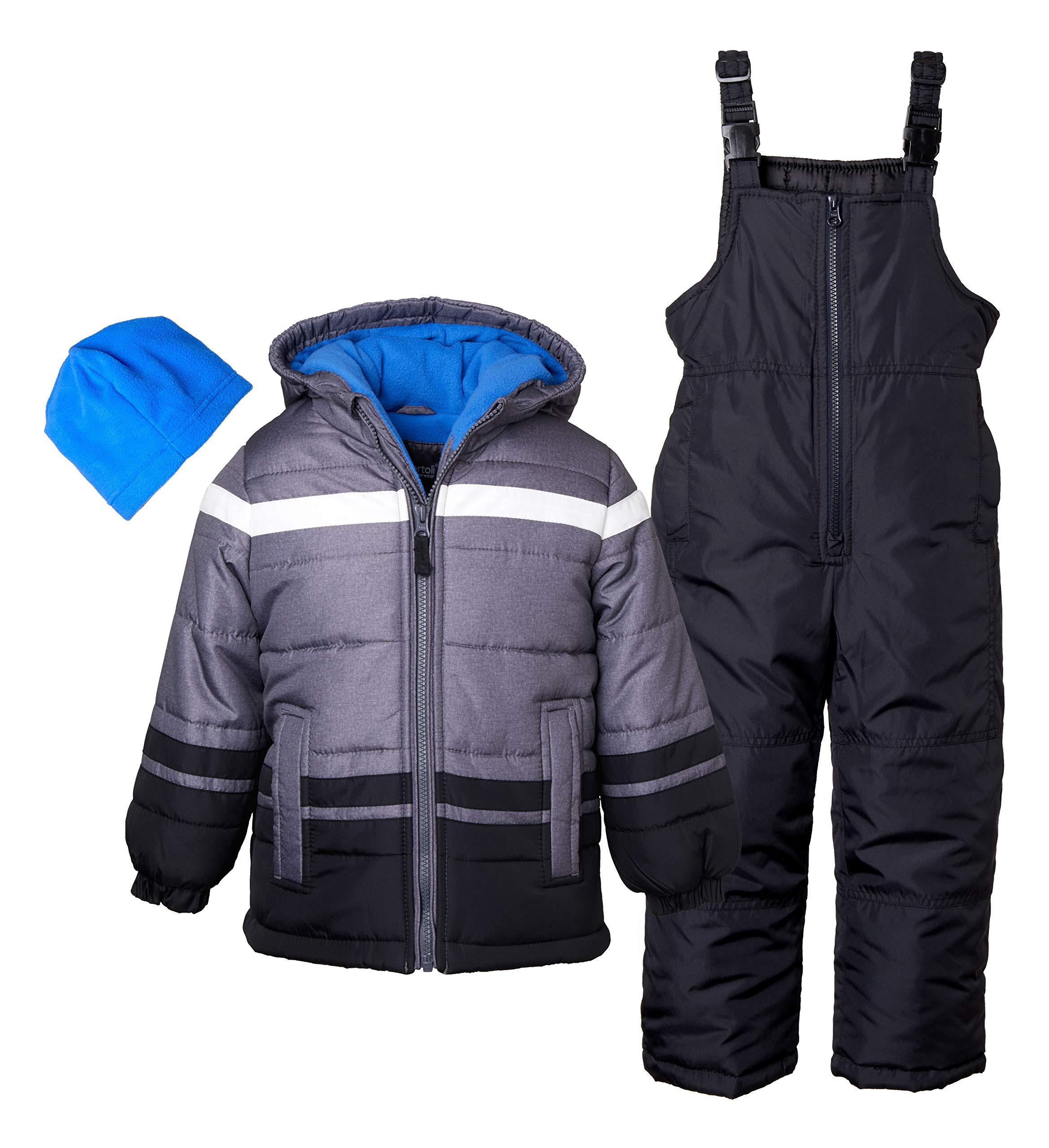 Sportoli Boys' Kids Winter Snowboard Skiing Parka Jacket & Snow Bib Snowsuit Set - Black/Royal (Size 3T)