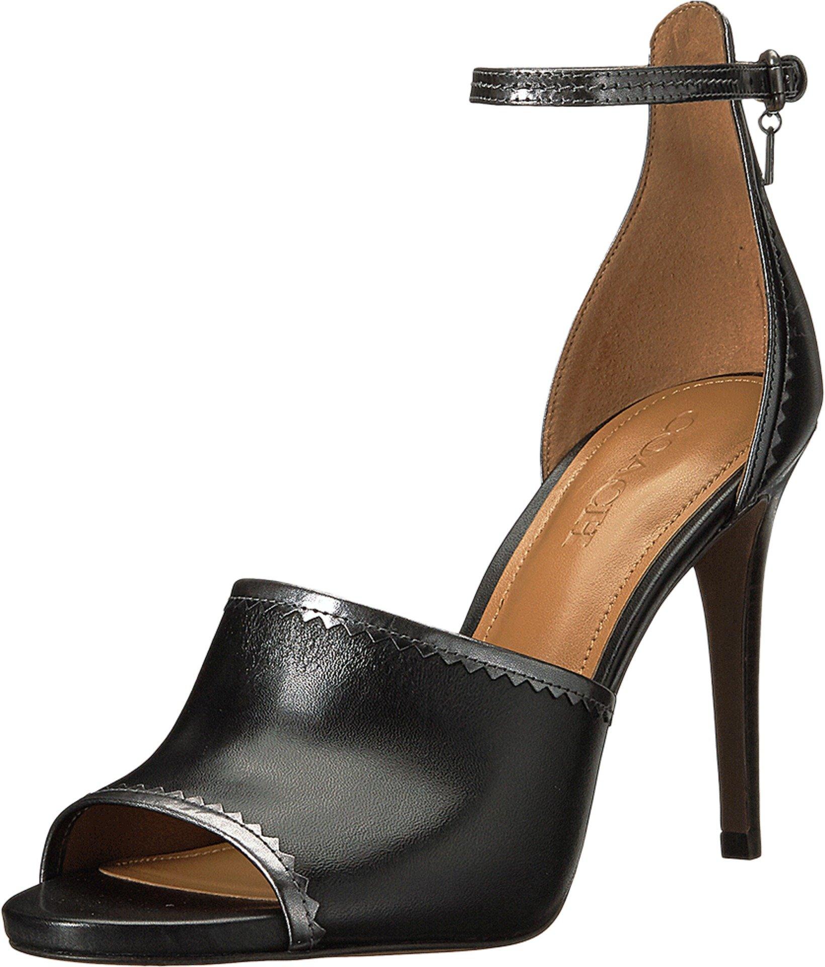 COACH Women's Jordan Black/Gunmetal Matte Calf/Mirror Metallic Sandal by Coach