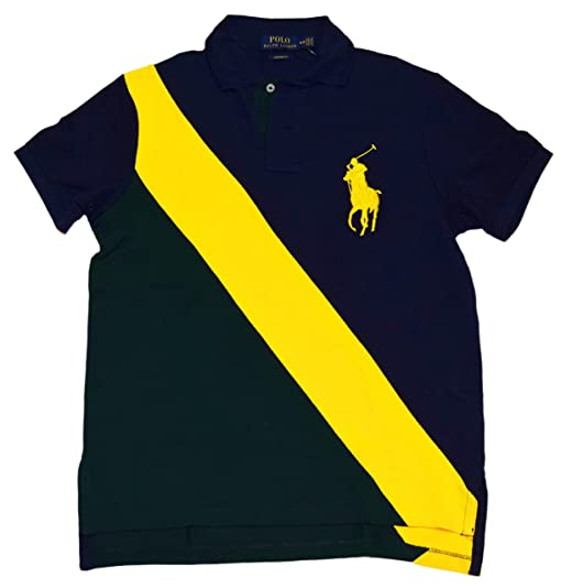 Ralph Lauren Polo Mens Custom Fit Big Pony Rugby Shirt Navy Green Yellow XL