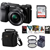 Sony Alpha A6100 Mirrorless Digital Camera, with 16-50mm Lens (Black) Bundle with Filter Kit, Bag, 64GB SD Card, Corel PC Sof