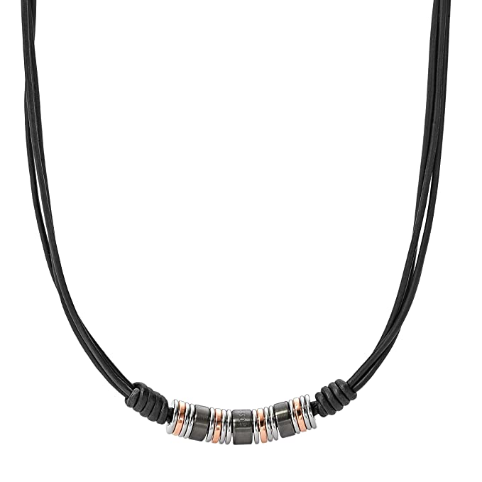 382c10df4fd1 Fossil Cadena de Collar de Hombre con Acero Inoxidable: Amazon.es ...