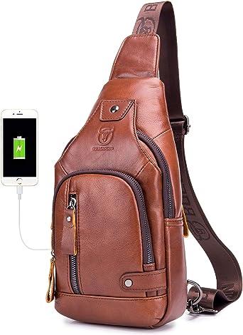 Waterproof Men CrossBody USB Chargable Leather Shoulder Backpack Sling Chest Bag