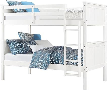 Amazon Com Dorel Living Maxton Twin Over Twin Bunk Bed White Furniture Decor