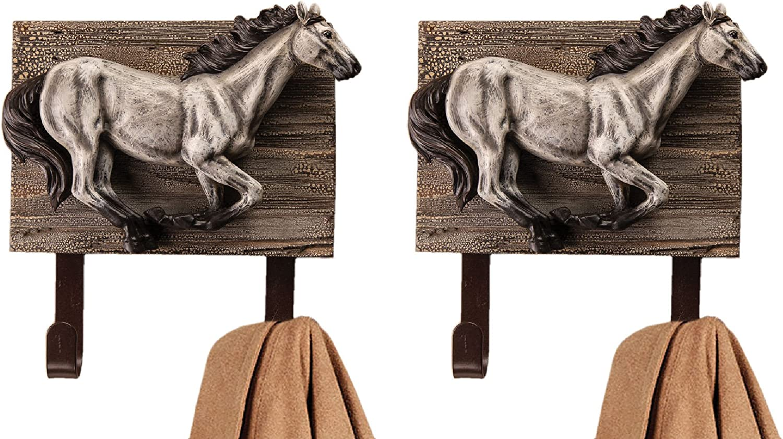 Set//3 Large Horse Double Iron Wall Hook Coat Tack Towel Western Decor Farmhouse