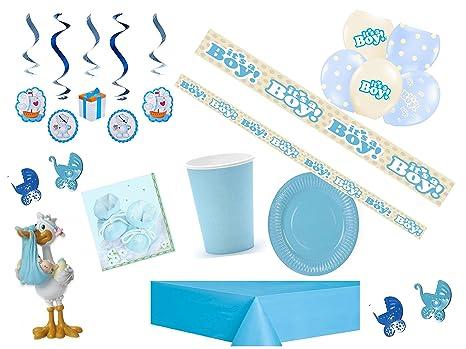 Party Fiesta Set Baby baby shower Niño Azul para 6 personas 69teilig Puller Fiesta bebé recién