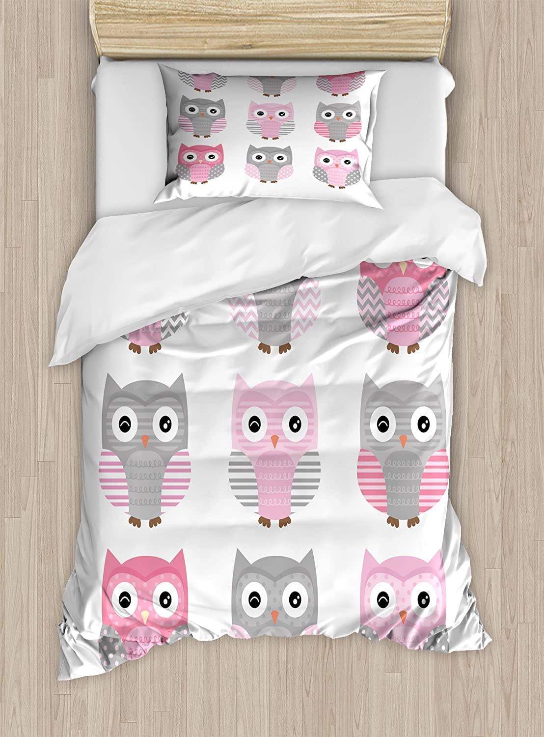Ambesonne Pink and Grey Duvet Cover Set, Owl Nocturnal Exotic Mystic Forest Night Animals Illustration, Decorative 2 Piece Bedding Set with 1 Pillow Sham, Twin Size, Blush Grey