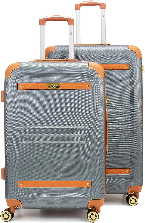 19V69 Italia Vintage Expandable Hard Spinner Luggage Set 2 Piece Nero Black, Large + Medium