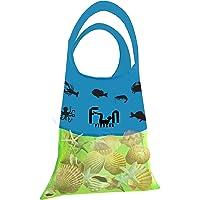 Bolsa de Red Malla (Verde Neón, L) - Bolsa de lona para niños juguetes de playa, conchas, toallas de piscina, traje de…