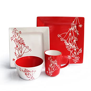 American Atelier 6084-16RD Blossom Branch 16 Piece Square Dinnerware Set, 10.75 DP x 7.75 SLD x 5.8 BWL, Red