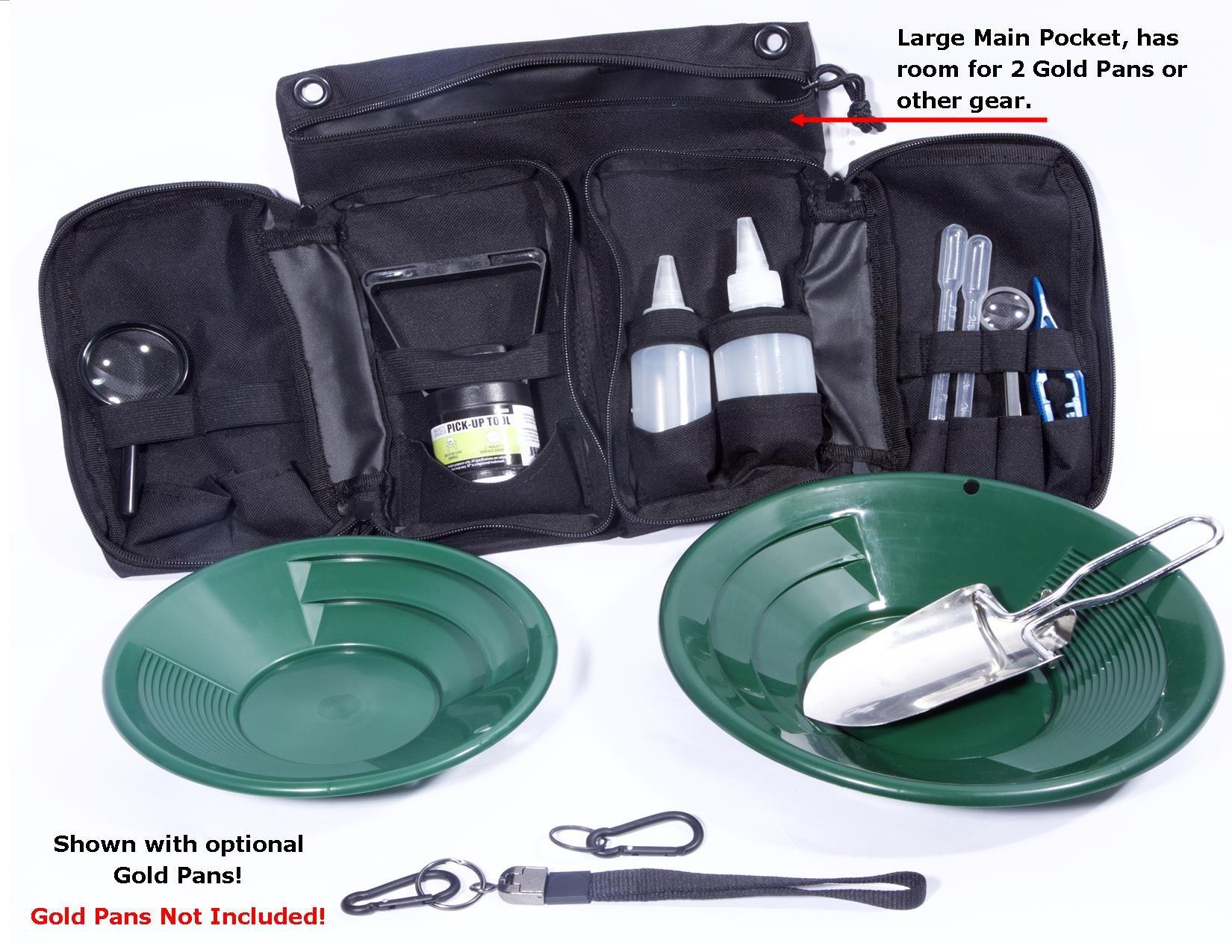 VAS 21 PC Blue Prospectors Gold Panning Pan Essentials Set Kit | Molle Bag | 2 Gold Pans | Adults | Kids | Beginners Too! | Equipment for Metal Detecting & Gold Panning (Blue Gold Pans)