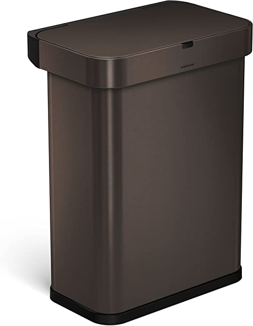 Bronze Stainless Steel Can Trash 13 Gallon Kitchen With Lid Step Free Touch Bin
