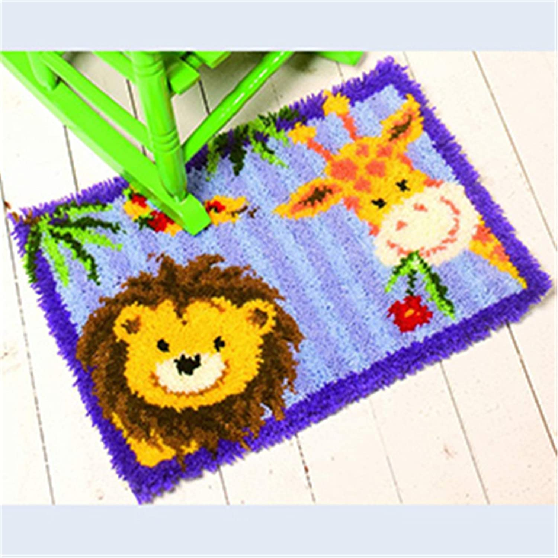 8 Modell Löwe und Giraffe Knüpfteppich für Kinder und Erwachsene zum Selber Knüpfen Teppich Latch Hook Kit child Rug Animal 584 53 by 38 cm Beyond Your Thoughts