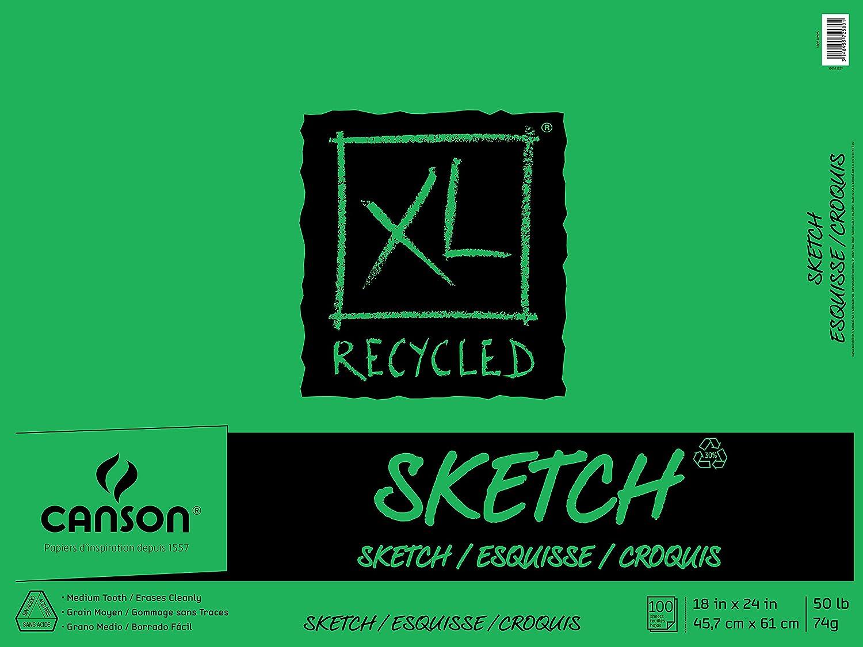 100 Sheets 30 lb Canson XL Newsprint Pad 18 x 24 Inches