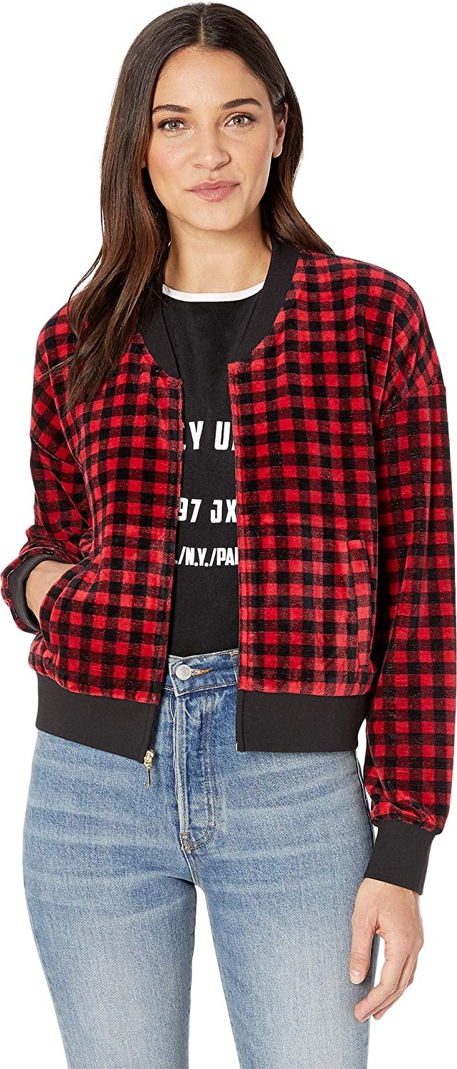 046bd7fe0 Amazon.com: Juicy Couture Women's Printed Check Stretch Bomber ...
