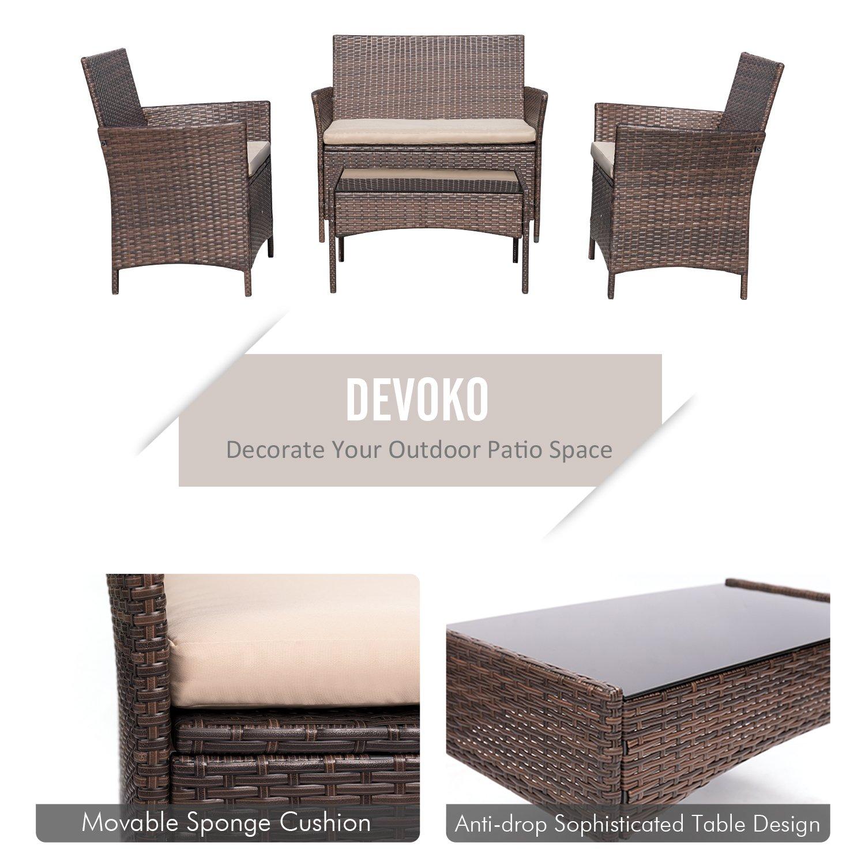 Amazon.com: Devoko 4 Pieces Patio Dining Sets Porch Furniture Garden ...