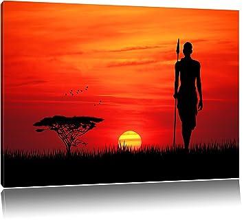 Dark Coucher De Soleil Rouge En Afrique La Peinture Sur Toile
