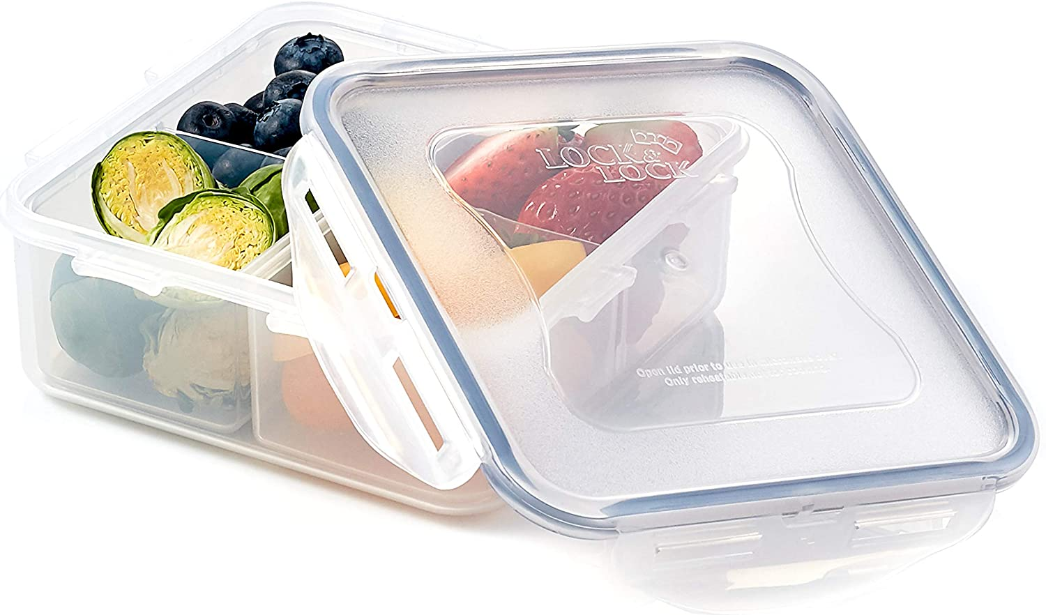 LOCK & LOCK Easy Essentials On The Go Meal Prep Lunch Box, Airtight Containers with Lid, BPA Free, Square (4 Section) -29 oz, Clear