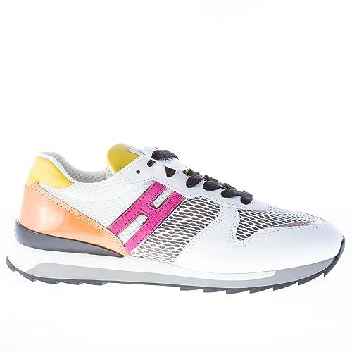 HOGAN scarpe donna Sneaker R261 multicolore pelle e tessuto a rete bianco