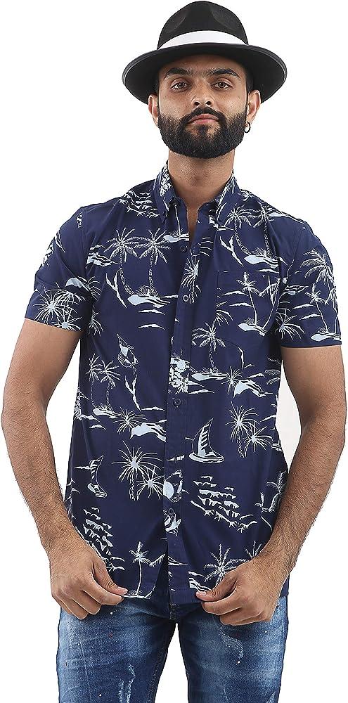 Brooklyn - Camisa de manga corta para hombre, estilo hawaiano, diseño casual, color azul marino, talla M - XXL Azul azul marino M: Amazon.es: Ropa y accesorios