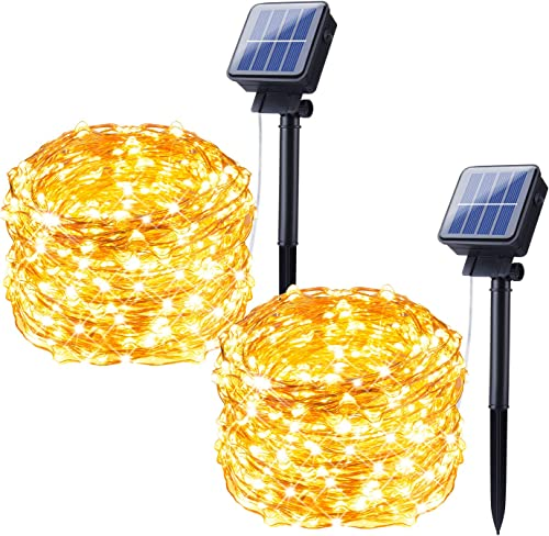 Outdoor Solar Powered String Lights, 2 Pack 33FT 100 LED Fairy Lights with 8 Lighting Modes, Waterproof Copper Wire Decoration Lights for Patio Yard Trees Christmas Camping Party Warm White