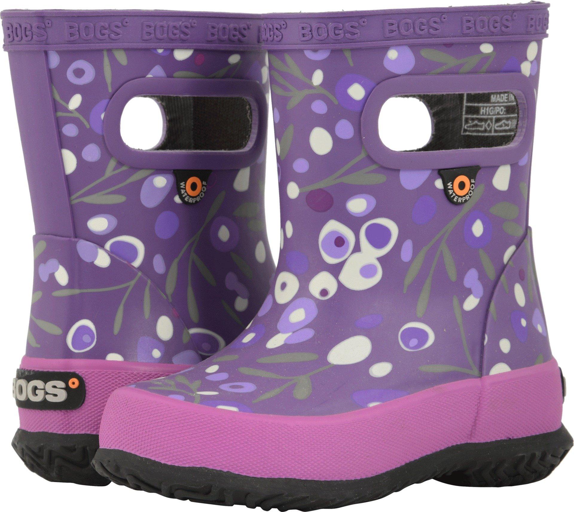 Bogs Skipper Kids Waterproof Rubber Rain Boot for Boys and Girls, Cattail Print/Purple/Multi, 9 M US Toddler