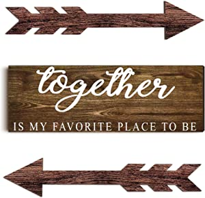 Jetec Together Rustic Wood Sign Farmhouse Wall Printed Sign and 2 Pieces Brown Arrow Wall Decors Arrow Signs for Living Room, Bedroom, Kitchen, Nursery, Office, Wedding