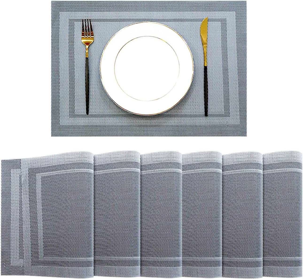 ACWARM HOME Placemats Set of 6 , Table Mats for Dining Kitchen Table, Vinyl Non-Slip Washable PVC Heat Resistant Woven Place Mats (Gray)
