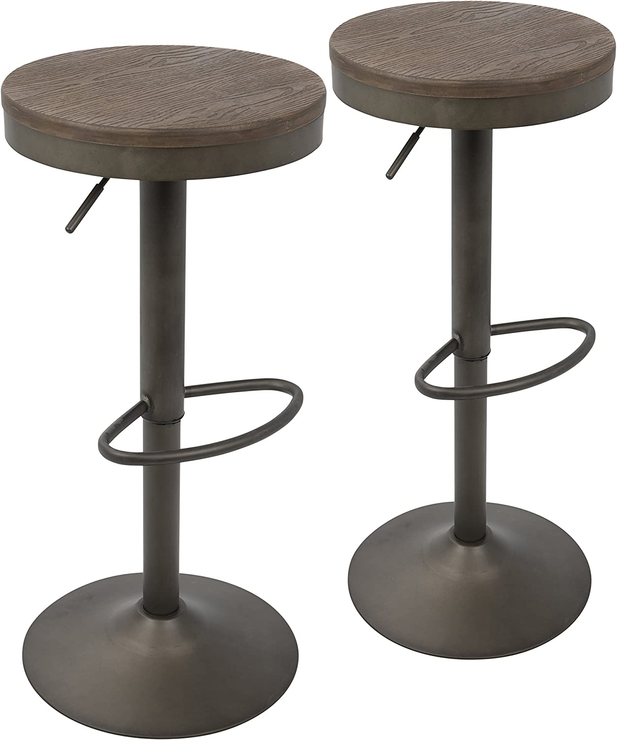 LumiSource Barstool in Antique and Brown – Set of 2