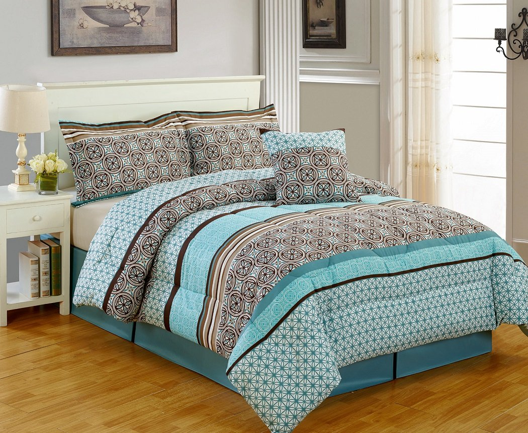 5-piece Multi Color Medallion Printed Microfiber Comforter Set