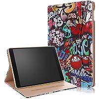 Junjiu iPad 9.7 2017/2018 Air/A1474, A1475, A1476, Air2/A1566, A1567 funda, material de poliuretano, correa de mano de doble capa de protección, a prueba de golpes, visualización multiángulo con bolsilloAuto., Graffiti