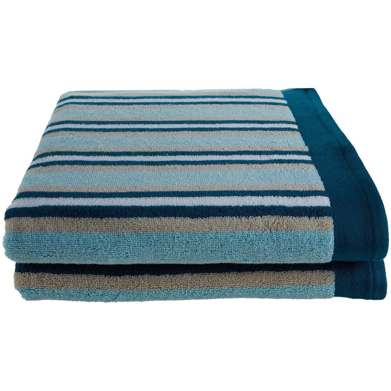 Blue Nile Mills Striped 2-Piece Bath Sheet Set, Premium Long-Staple Cotton, Sea Foam