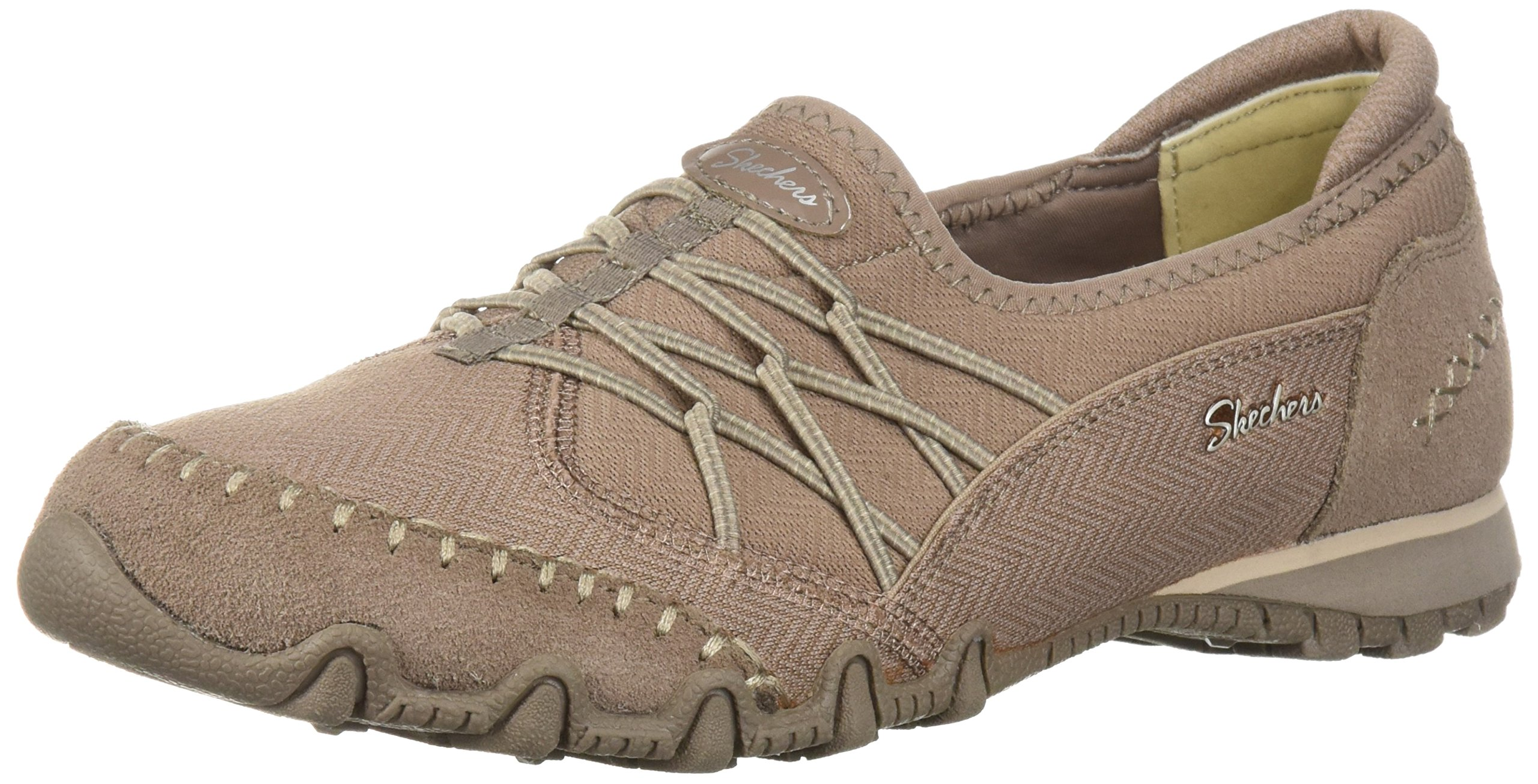 Skechers Women's Bikers Digits-Double Bungee Closure Slip-on-Relaxed Fit Sneaker, Dark Taupe, 10 M US