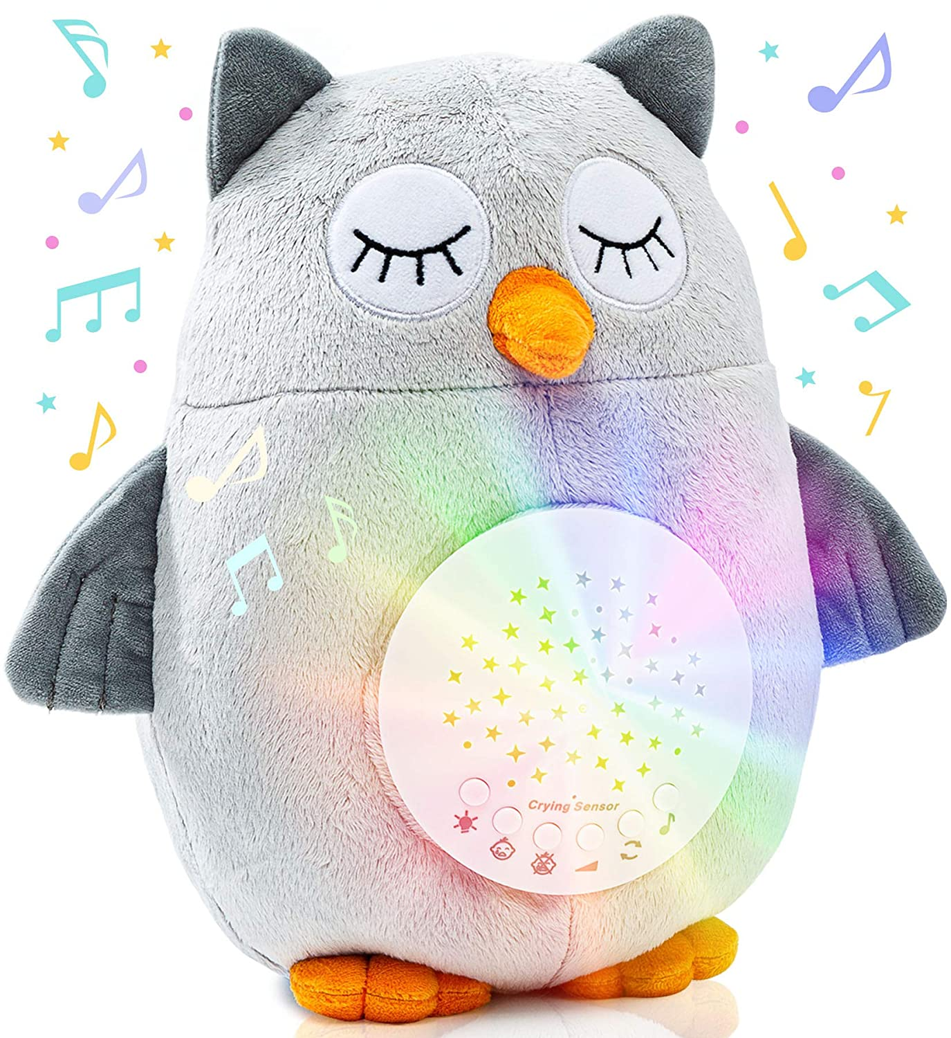 Plush Night Light Cry Detector - W/ 10 Lullabies & White Noise - Baby Soothing Sound Machine & Projector by Roccababy - Ceiling & Crib Cry Sensor Soother Part of Baby Necessities & Baby Registry Items