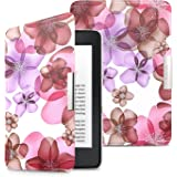 MoKo Case for Kindle Paperwhite, Premium Ultra Lightweight Shell Cover Fits All Paperwhite Generations Prior to 2018 (Will not fit All-New Paperwhite 10th Generation), Floral PURPLE