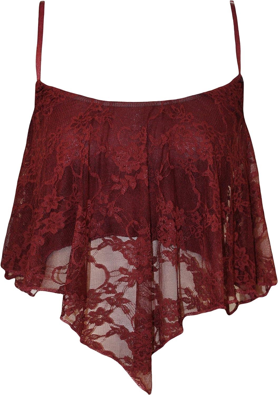 GirlsWalk Women's Lace Camisole Crop Top Wine
