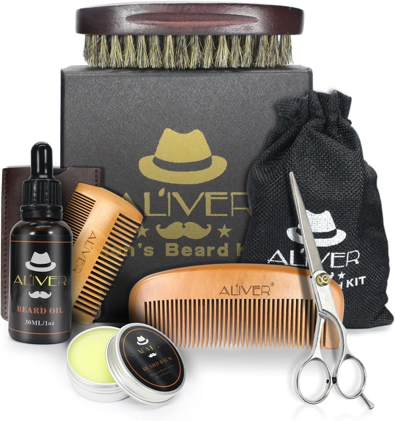 Kit de cuidado de la barba con el cepillo de barba,Peine de barba,Aceite de barba ecológico (30 ml),Bálsamo de bigote (30 g),Tijeras de barba para hombres estilo modelado y crecimiento.