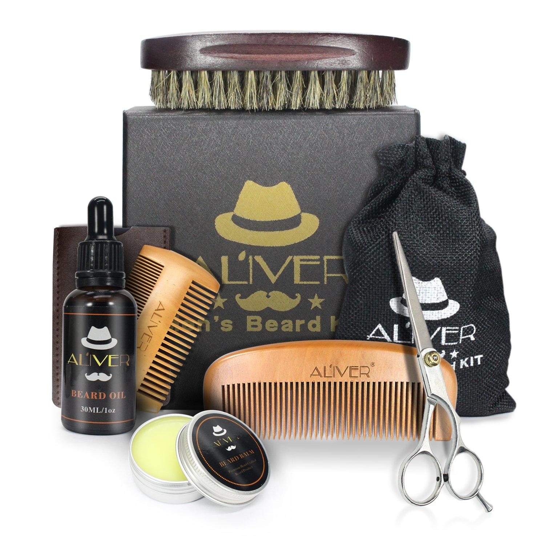 Beard Grooming Kit, 6 Pcs Beard Kit for Men Care with Beard Oil, Beard Balm Butter Mustache Wax, Wooden Beard Comb, Boar Bristle and Beard Brush, ALIVER