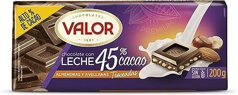 Valor Chocolate con leche, almendras y avellanas, 45% cacao, 200 gr: Amazon.es: Alimentación y bebidas