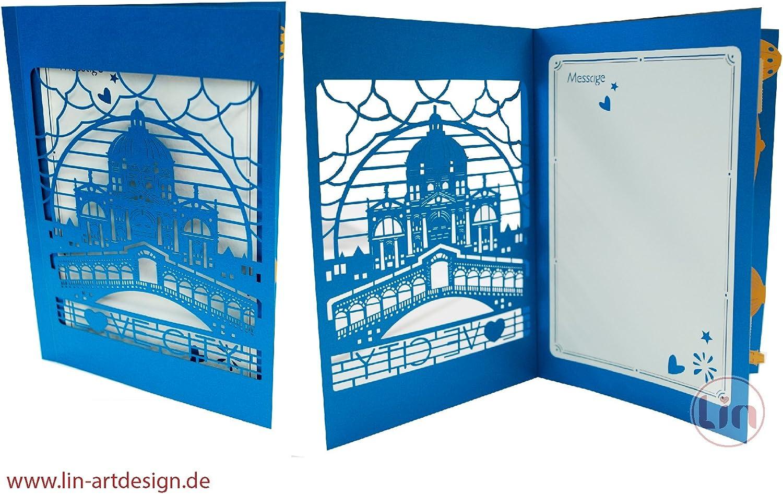 3D pop up carte vacances Italie Voyage Bon dachat ch/èque cadeau Villes Trip Cartes de v/œux Voyage Bon Anniversaire Cartes Italie Venise N716 Lin