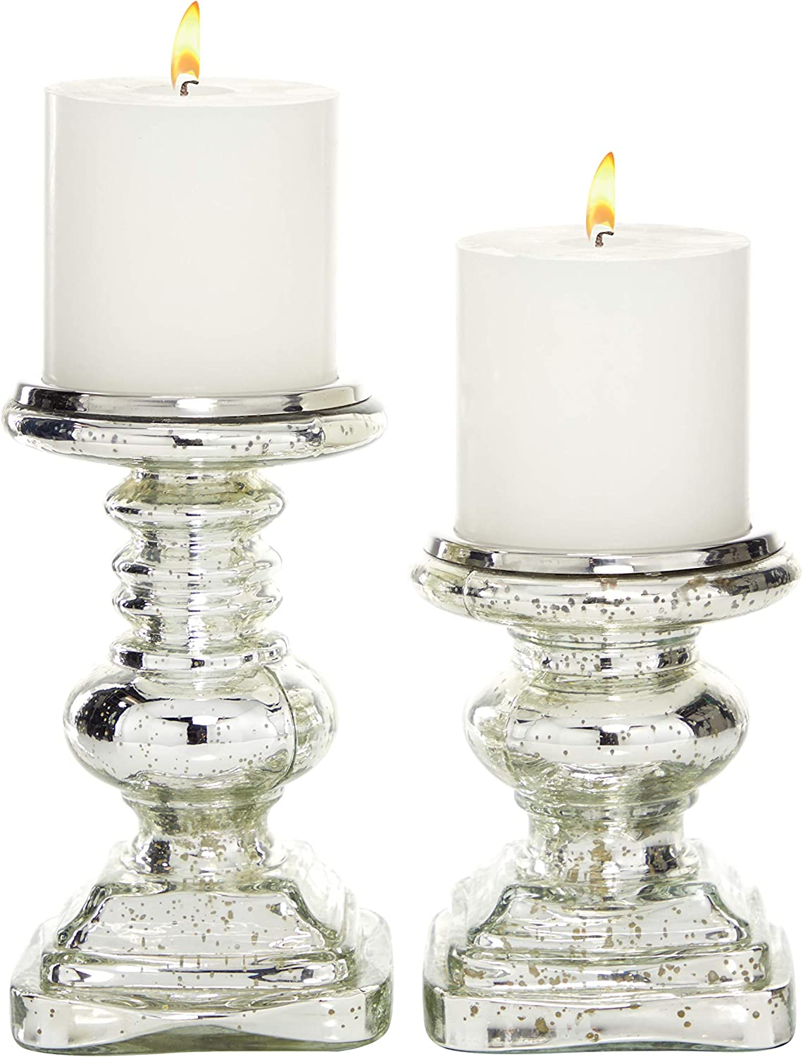 7 Set of 2 Traditional Silver Mercury Glass Candle Holders 9
