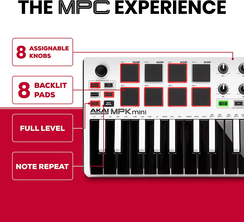 AKAI MPK MINI MK2 USB MIDI KEYBOARD DAW CONTROLLER 25 TASTEN 8 PADS White weiß