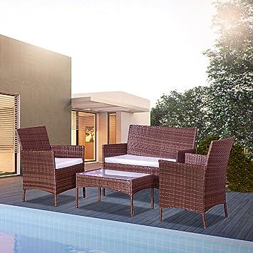 Concept Usine-Mykonos Marron Et Blanc : Salon De Jardin En Résine ...