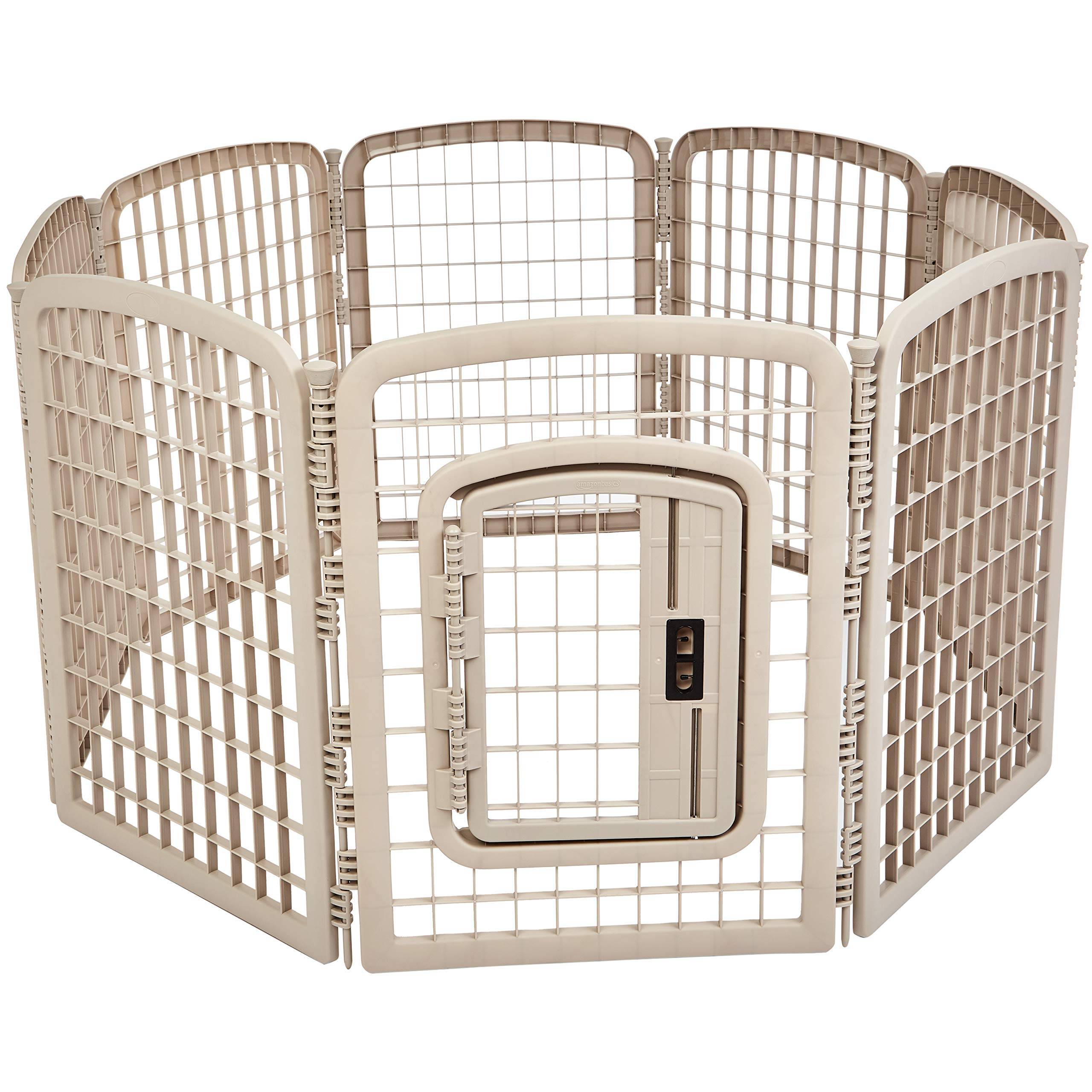 AmazonBasics 8-Panel Plastic Pet Pen Fence Enclosure With Gate - 64 x 64 x 34 Inches, Beige by AmazonBasics