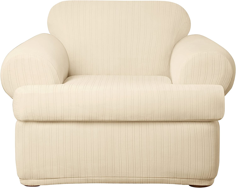 SureFit Stretch Pinstripe 2-Piece - Chair Slipcover - Cream