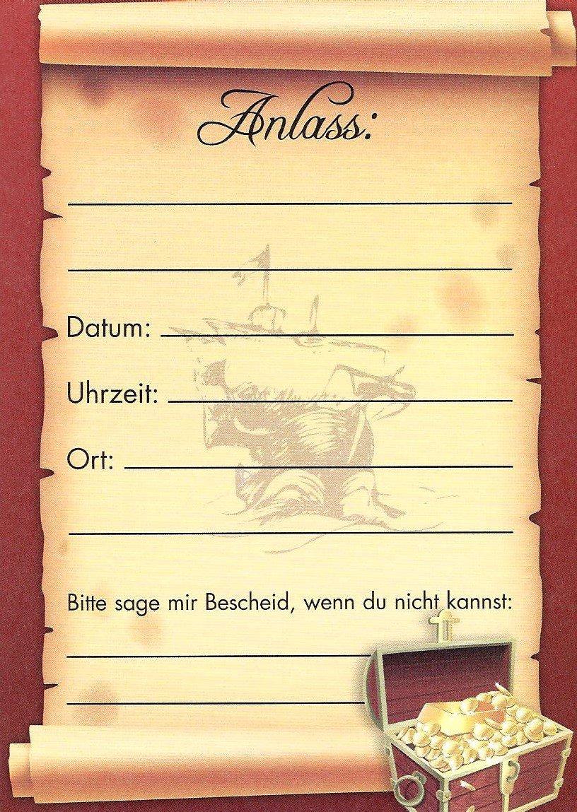 Einladungskarten Kindergeburtstag Junge Mit Innentext Motiv Pirat 12