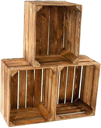 Kistenbaron Juego de 3 Vintage Antigua Caja de Madera – , vetado/Quemado – Antiguos